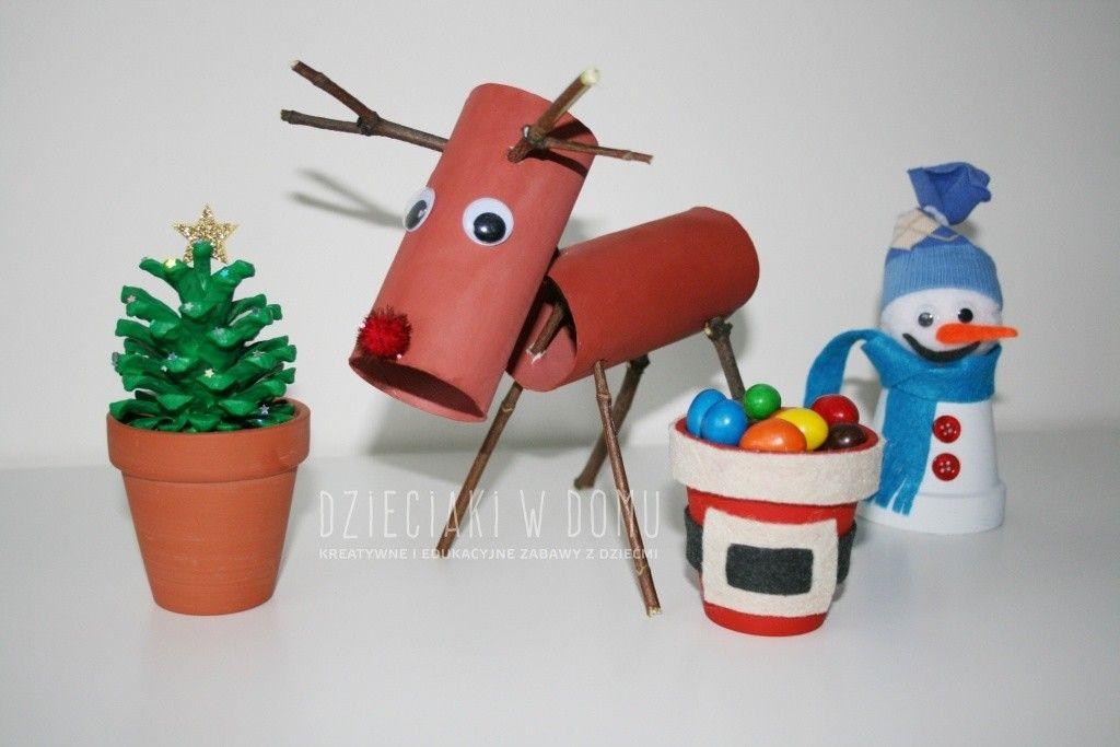 renifer z rolek - pomysł na pracę techniczną dla dzieci