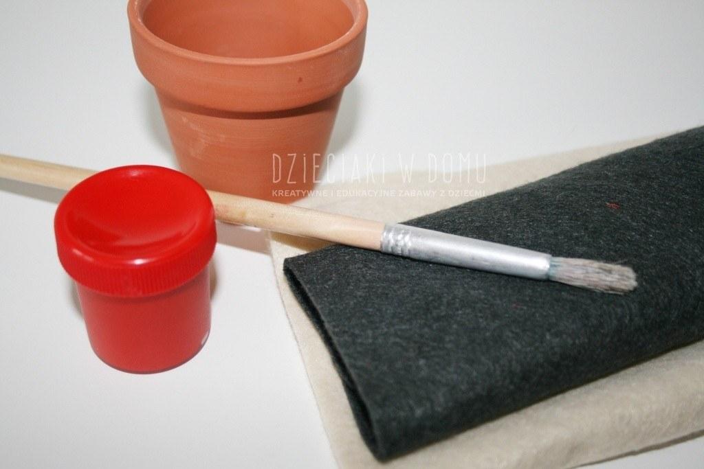 mikołaj z doniczki - praca techniczna dla dzieci