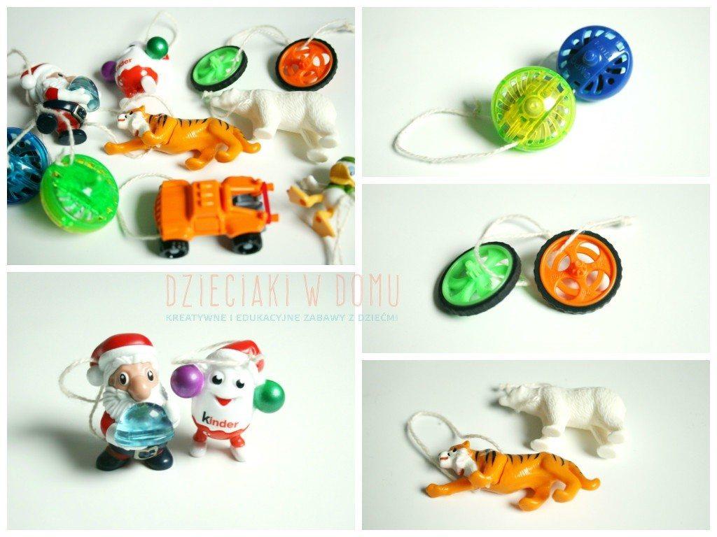 choinka ozdobiona zabawkami z kinder niespodzianek