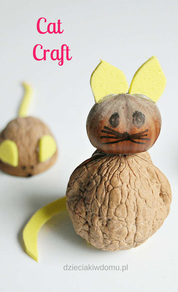 cat and mouse craft for kids / walnut craft idea