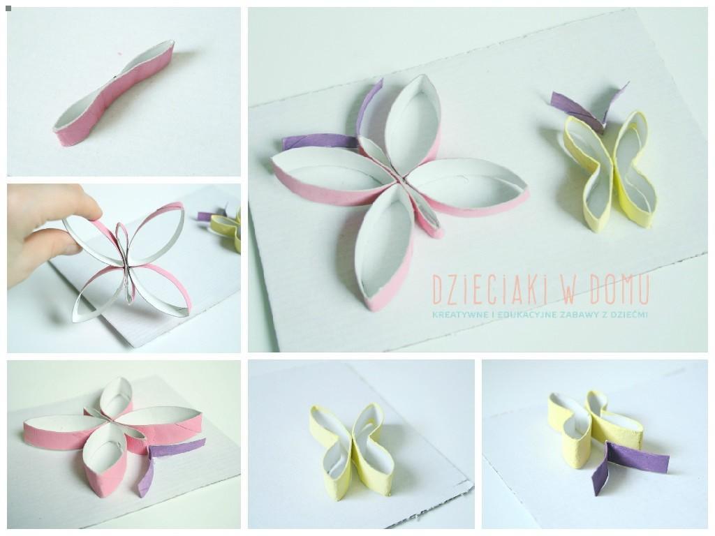 motylki z rolek - praca plastyczna
