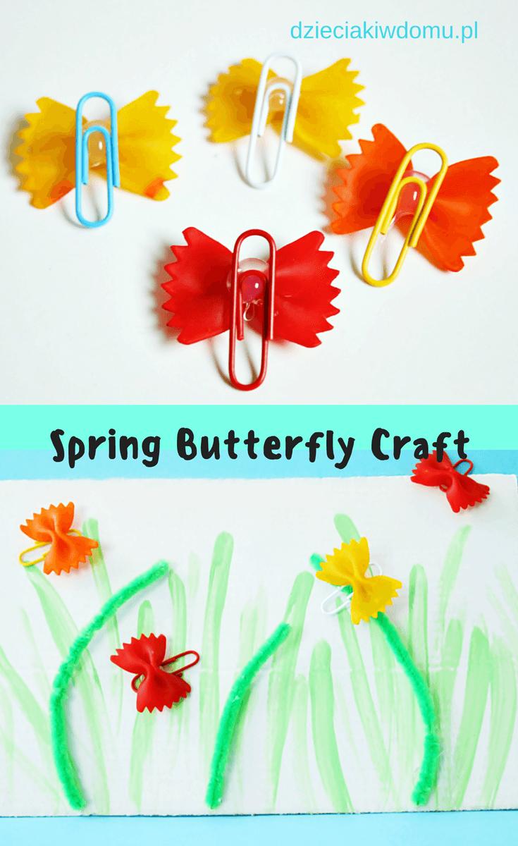motylki z makaronu - wiosenna praca plastyczna dla dzieci