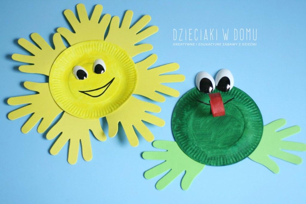 słońce i żaba z papierowego talerzyka