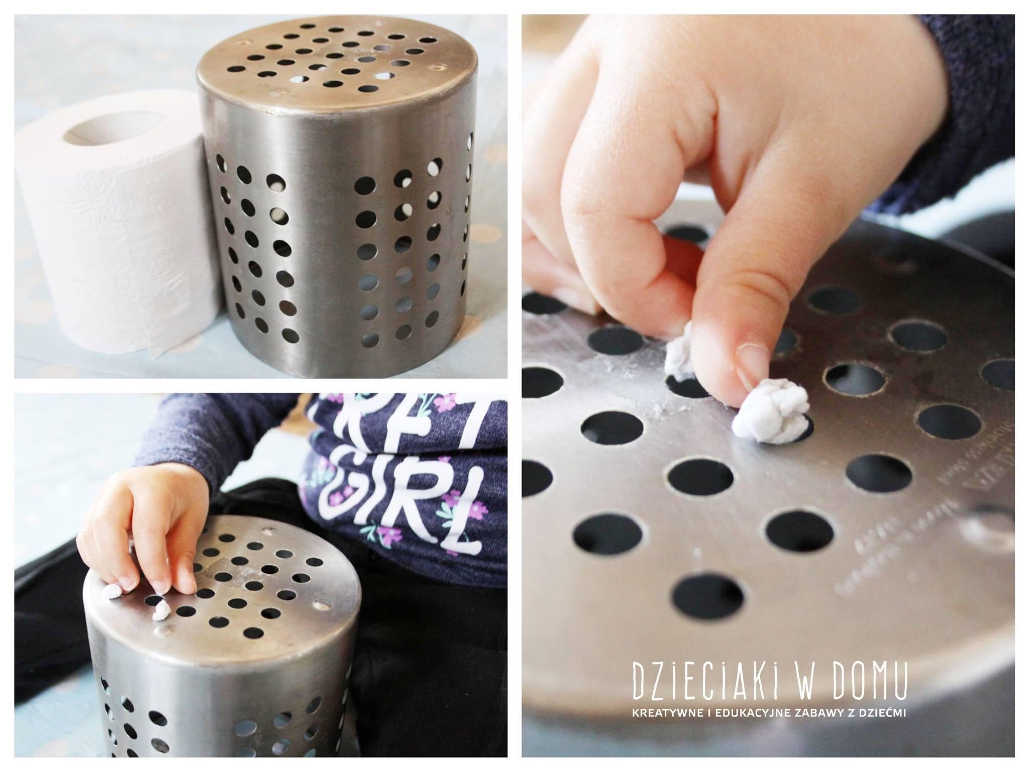 kuleczki do dziurki -kreatywna zabawa, ćwiczenie paluszków dla małych dzieci