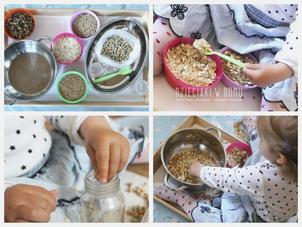 przesypywanie ziaren - zabawa dla dzieci