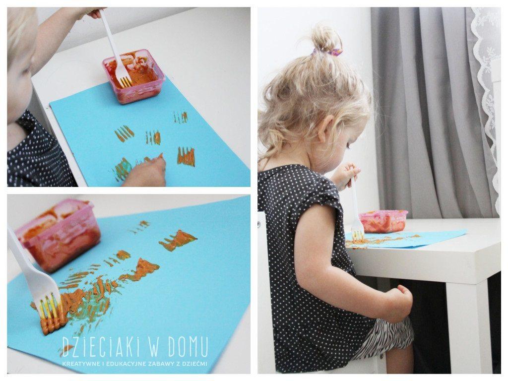 malowanie widelcem - pomysł na kreatywną zabawę