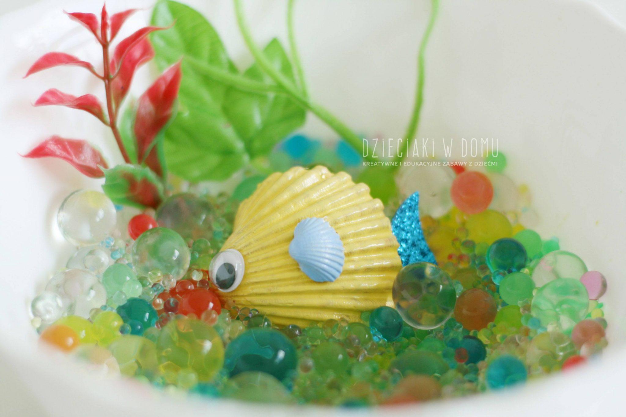 rybki z muszelek - krab, zolw, rybki - praca dla dzieci