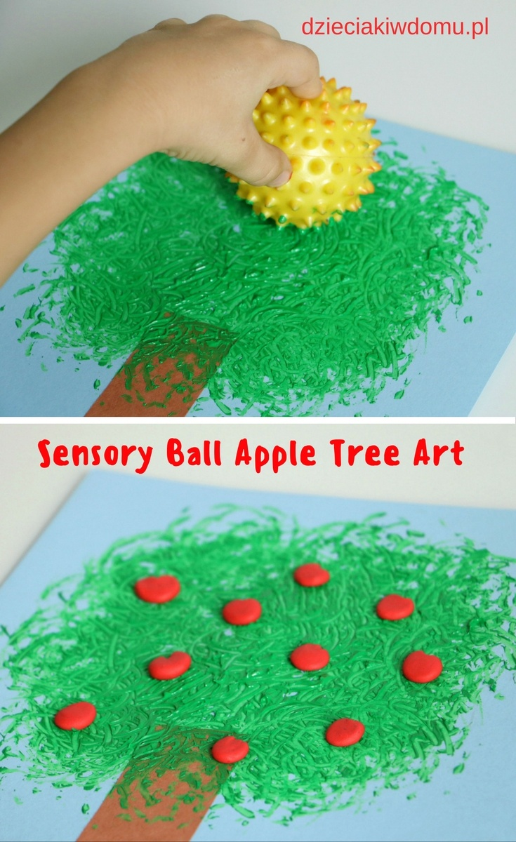 sensory ball apple tree art for kids