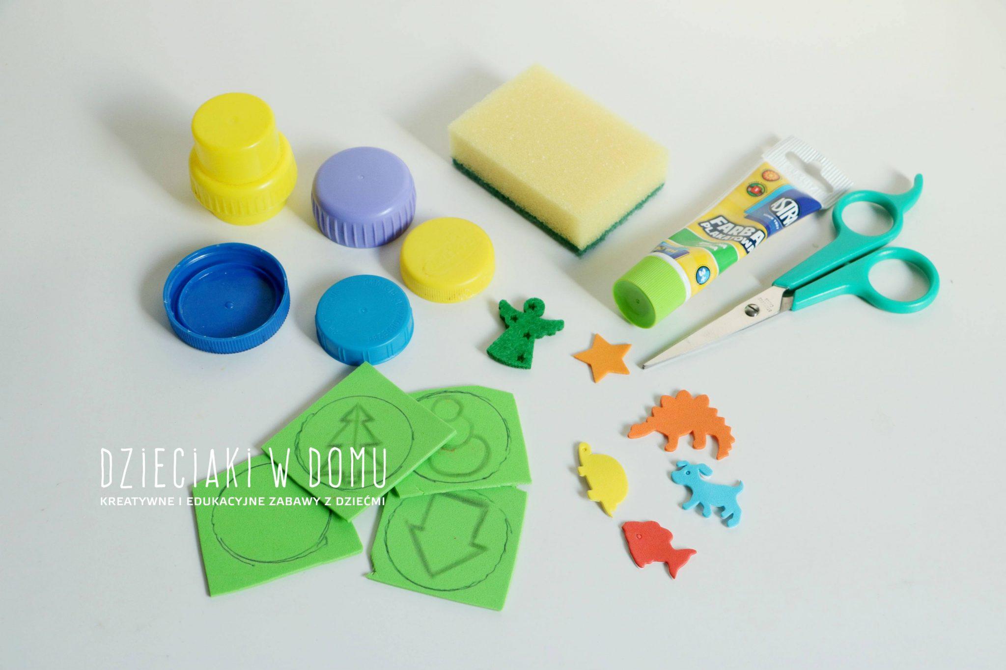 Stempeki dla dzieci zrobione z nakrętek domowym sposobem DIY