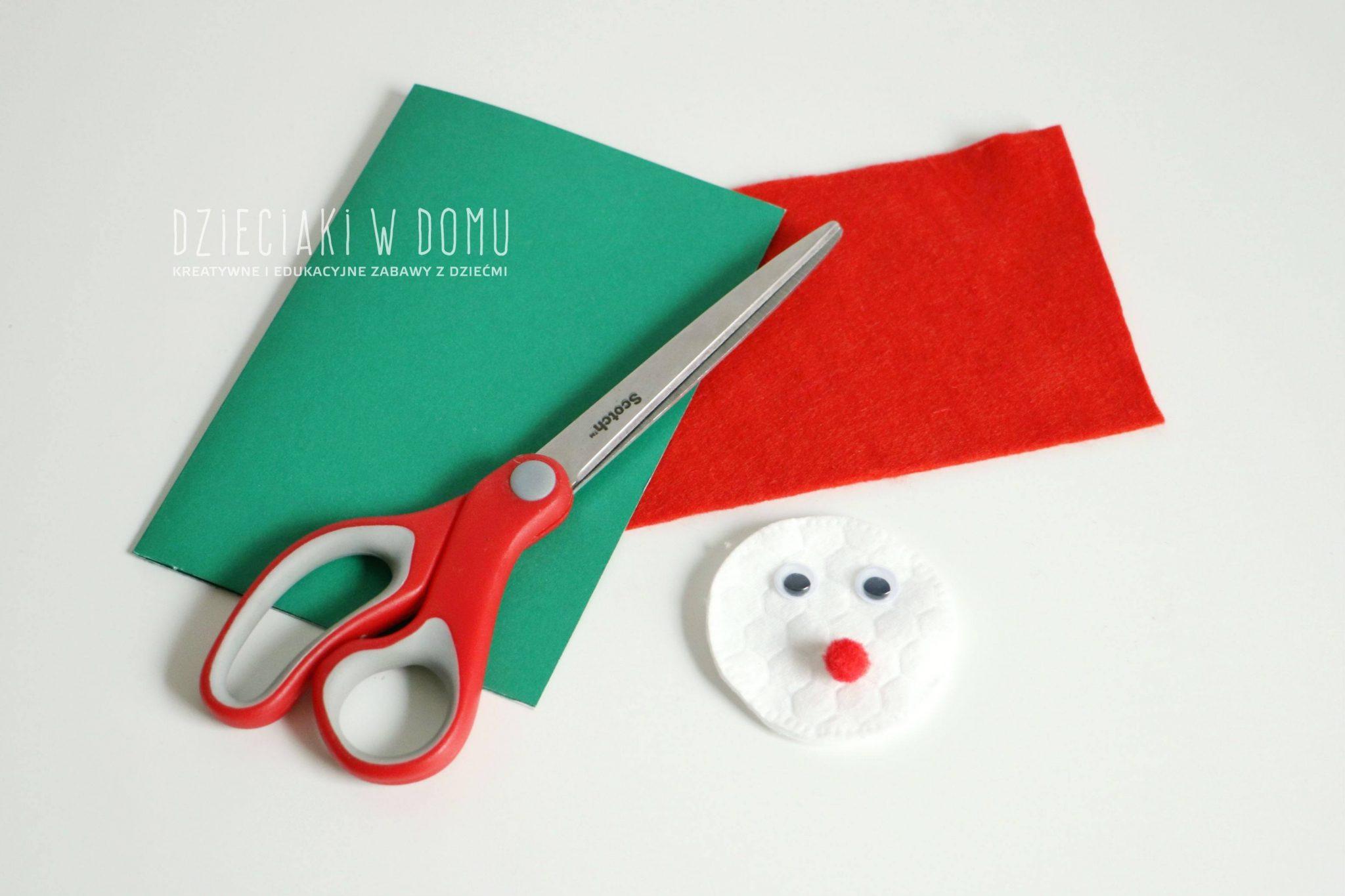 pomysł na prostą kartkę świąteczną z mikołajem