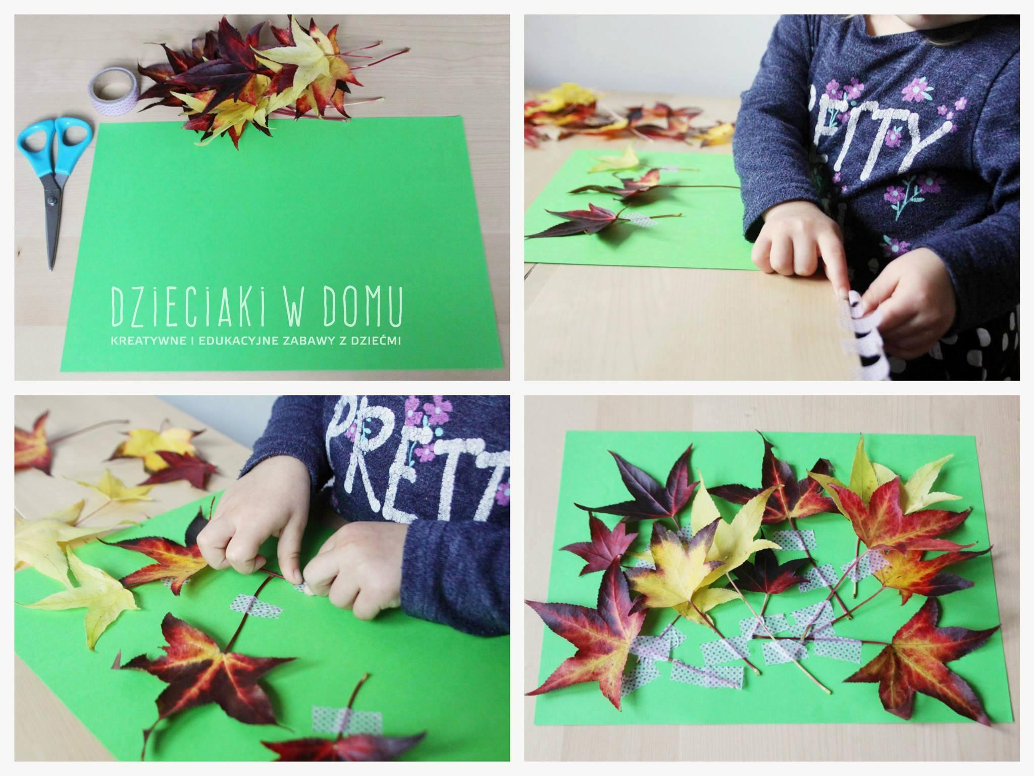 Jesienna kompozycja z liści - praca plastyczna dla najmłodszych dzieci