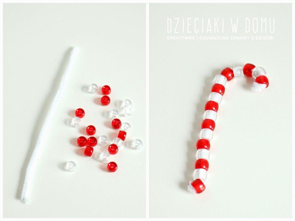 świąteczne prace kreatywne w wersji mini - laska MIkołaja - ozdoba choinkowa