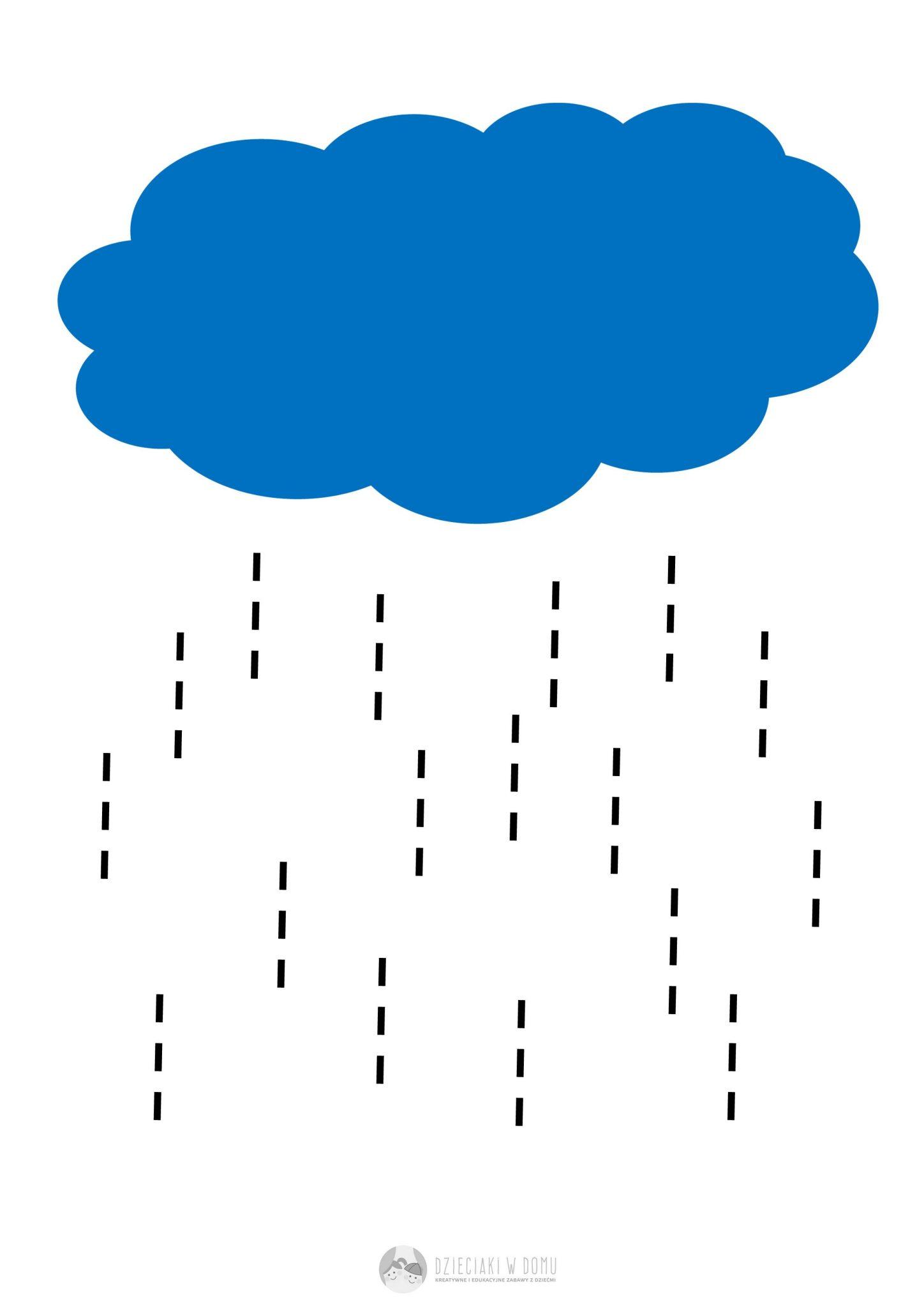 Chmura i krople deszczu - karta pracy dla 2-3 latka