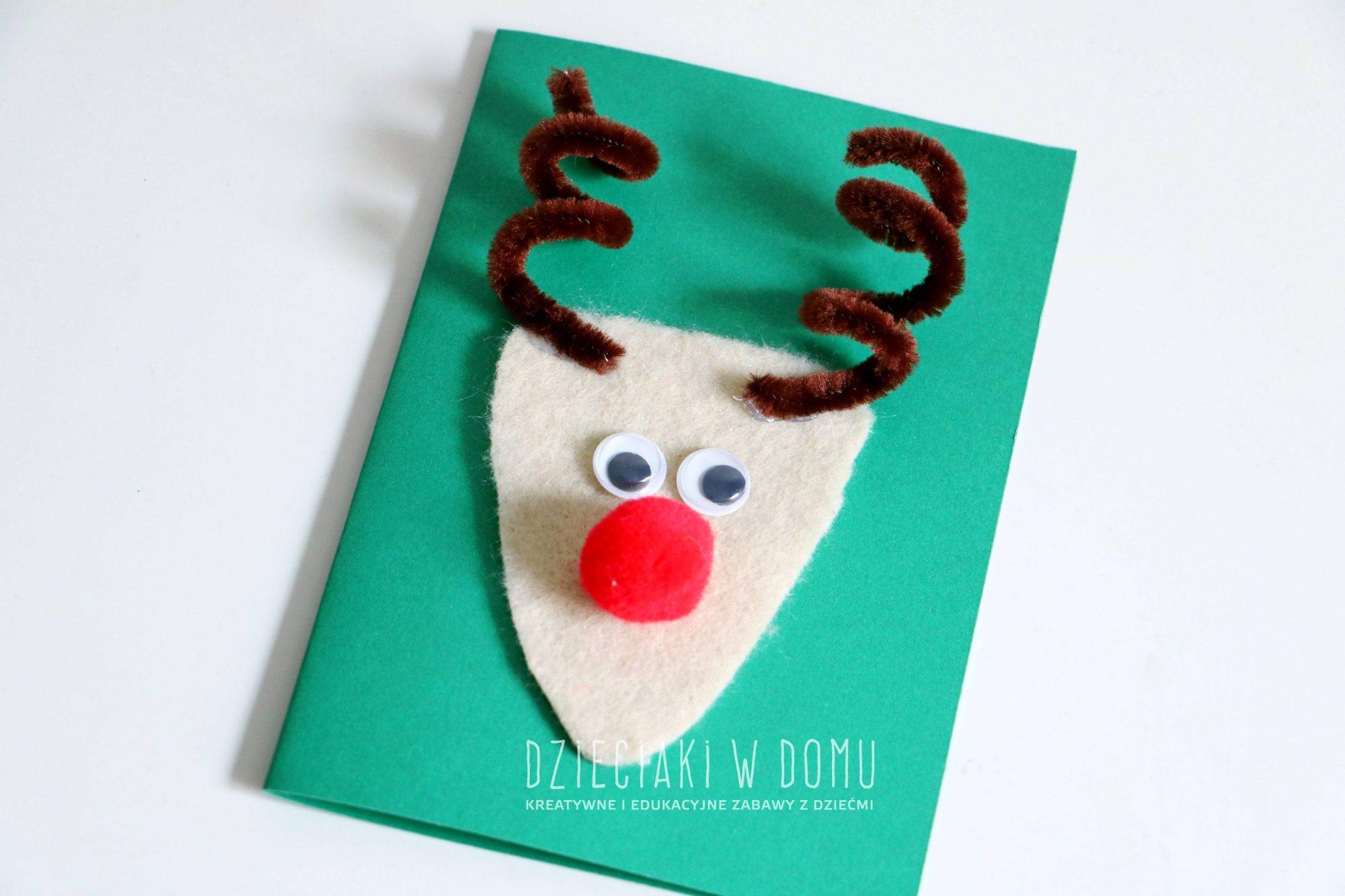 pomysł na prostą kartkę świąteczną z reniferem