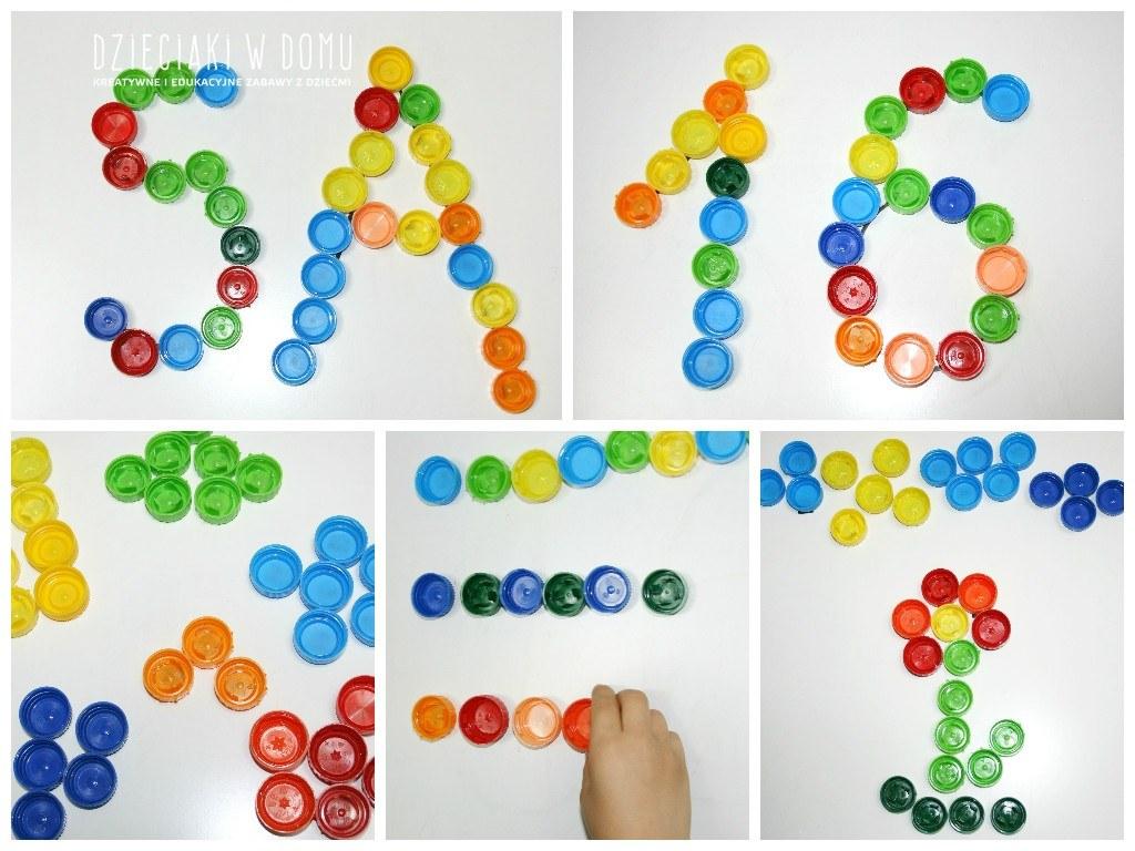 Układanki z plastikowych nakrętek - zabawa dla dzieci