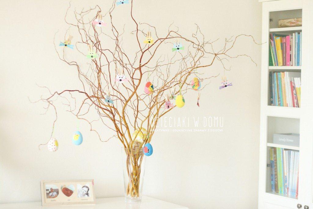zajączki zawieszki - pomysł na wielkanocną dekorację