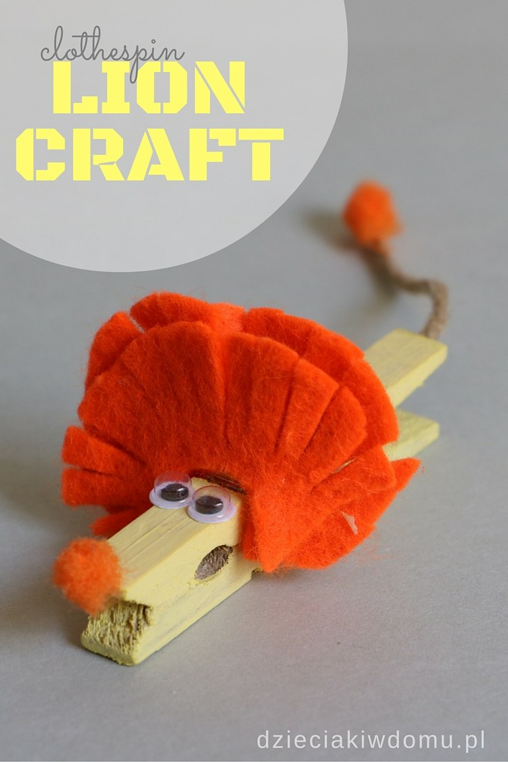 clothespin lion craft for kids