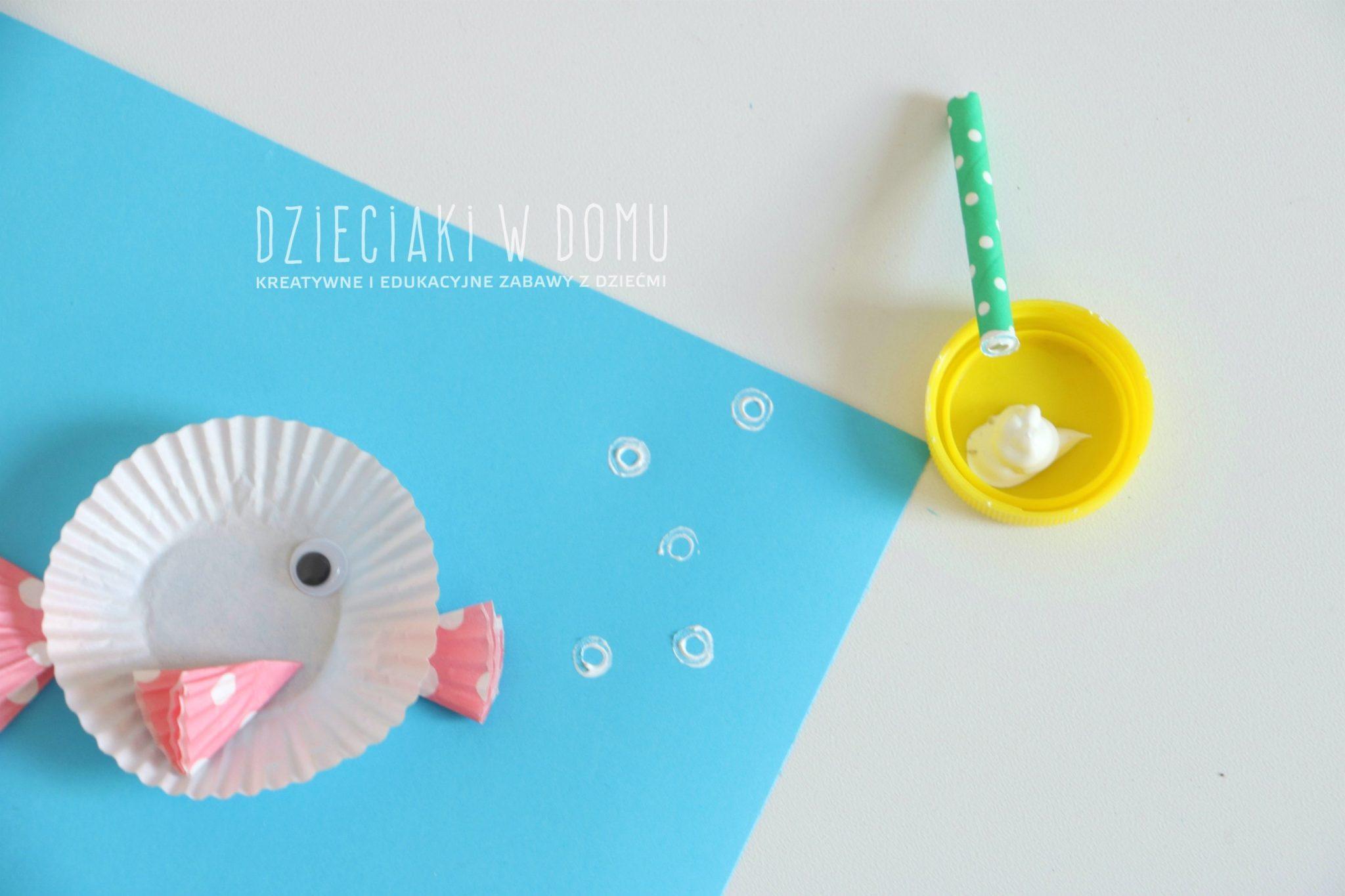 rybki z papilotek - praca plastyczna dla dzieci