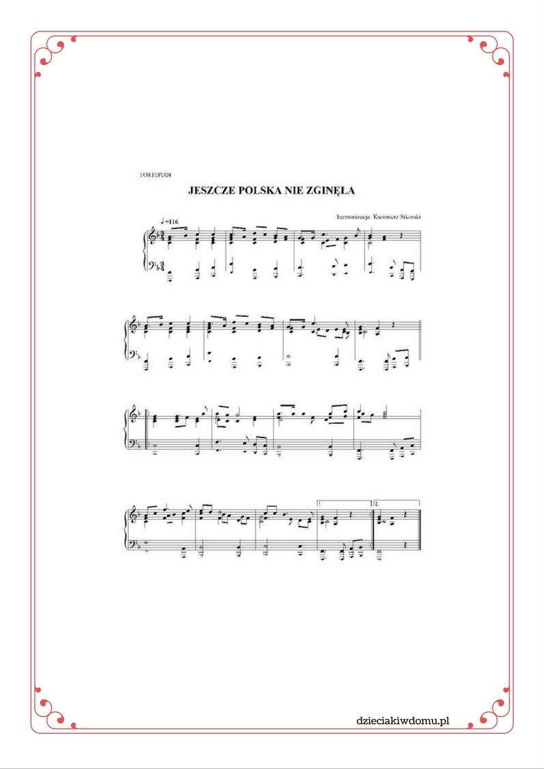 zapis nutowy hymnu