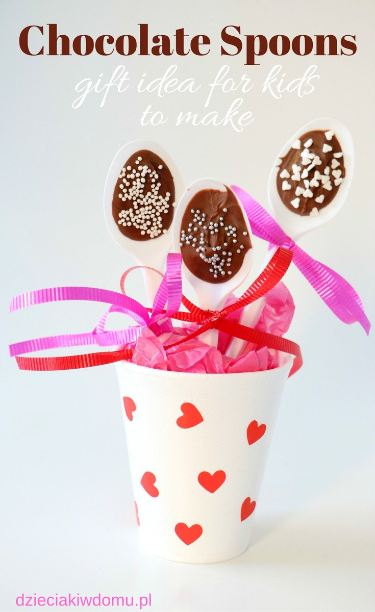 chocolate spoons gift idea for kids to make