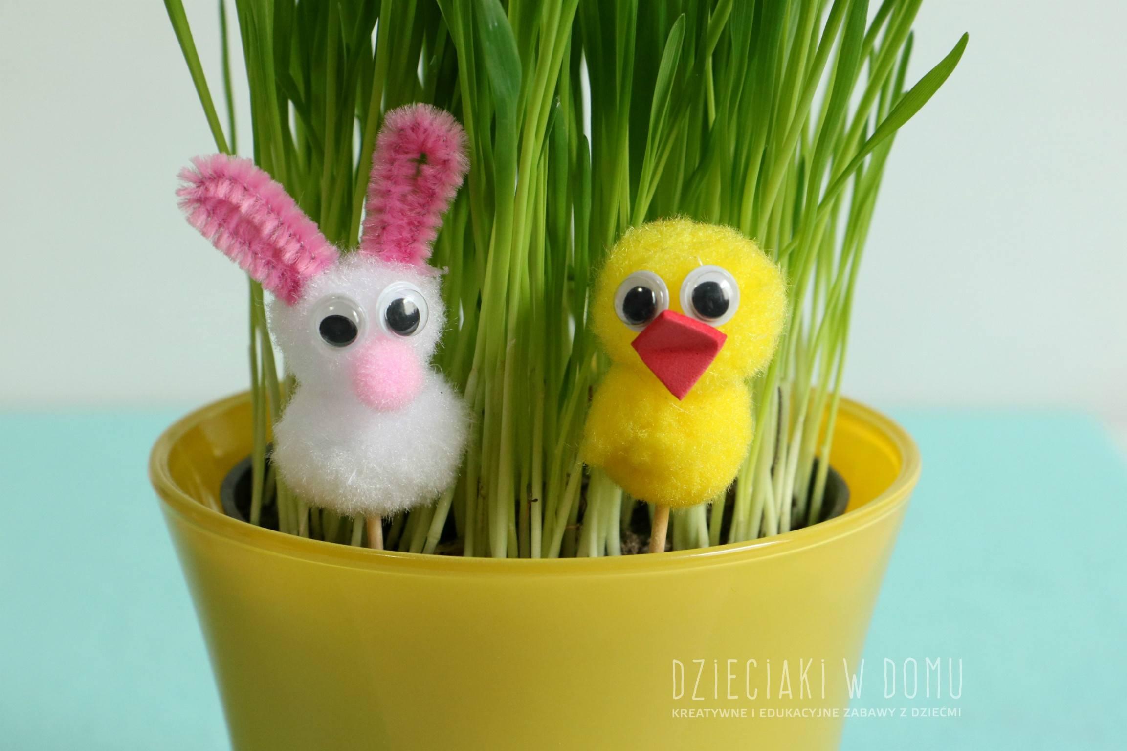 zajączki i kurczaki - wielkanocne dekoracje