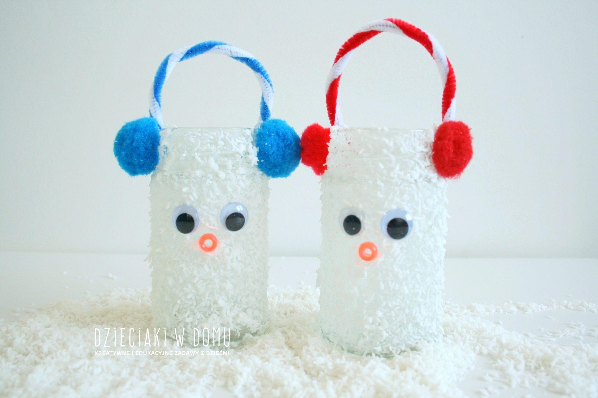 bałwanki - zimowe lampiony dla dzieci diy