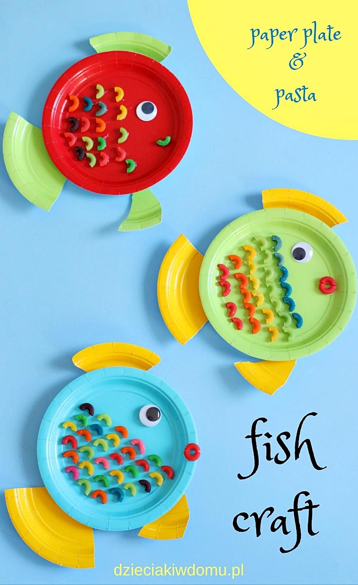 rybki z papierowych talerzykow dzieciaki w domu