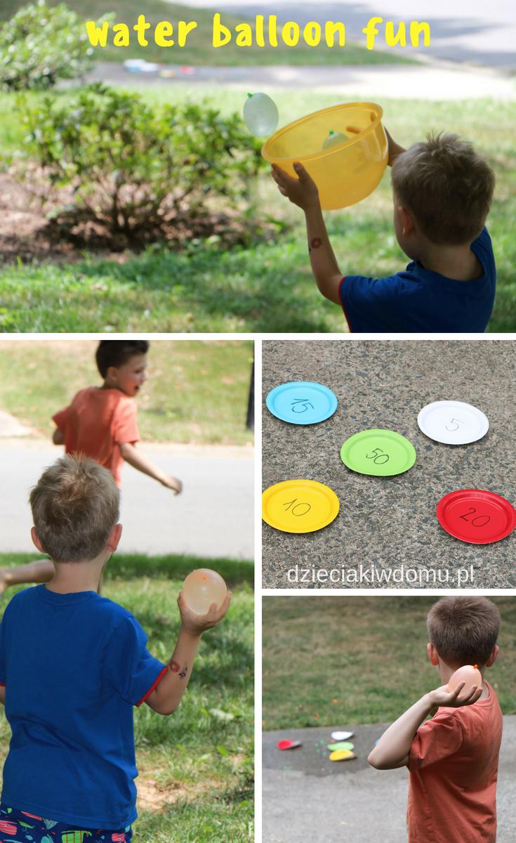 zabawy z balonami wodnymi dzieciaki w domu